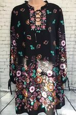 NEW TU 14 black multi floral frill tie neck embroidered long sleeve tunic dress