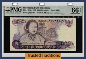 TT PK 126a 1985 INDONESIA BANK OF INDONESIA 10,000 RUPIAH PMG 66 EPQ GEM UNC!