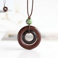 Long Rope Chain Brown Ceramics Bead Double-circle Pendant Women Wood Necklace