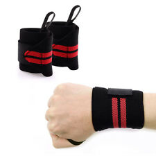 "Power Weight Lifting Wrist Support Wraps 18"" long Fitness Straps PAIR"