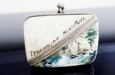 ANTIQUE  MOTHER OF PEARL HINGED SOUVENIR COIN PURSE  CASE