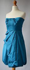 Ladies Karen Millen Teal Blue Satin Feel Strapless Dress Size Uk 8