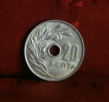 Greece 20 Lepta 1969 Unc World Coin Crowned Wreath Olive Branch Greek KM78