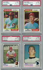 LOT OF 4 TOPPS - 1973 & 1974 PHILADELPHIA PHILLIES CARDS GRADED NM-MT 8 BY PSA