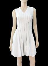 ALAIA White Stretch-Knit Fit & Flare Slvlss Pleated V-Neck Mini Dress 4 ~ SEXY!