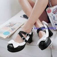Womens Cute Mary Janes Mid Block Heels Ankle Strap Bow Tie Pumps Lolita Shoes Sz