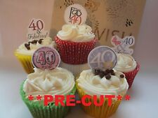 40th birthday party X24 edible stand up cup cake toppers wafer paper *pre-cut*