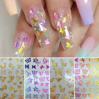 3D Butterfly Nail Foil Stickers Transfer Colorful DIY Art Manicure Decoration UK