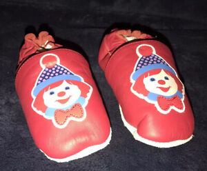 Gymboree Circus Clown Crib Shoes Boy Girl SZ. 3M Toddler Baby Red Faux Leather