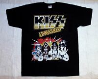 KISS UNMASKED HARD GLAM HAIR ROCK METAL NEW BLACK T-SHIRT