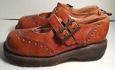 Doc Martens Double Strap Mary Janes Brown Wingtip Shoes Women's US 8 Dr Marten