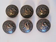 Lot of 6 Waterbury Metal Ring-Shank Buttons~National Park Service~7/8 inch~Nice!