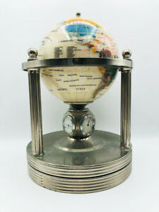 Gemstone Globe Mother of Pearl Silver Rotating Base w/Clock, Hygrometer, Therm