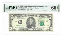 1995 $5 KANSAS CITY FRN, PMG GEM UNCIRCULATED 66 EPQ BANKNOTE