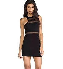 Nookie Beach Black Bodycon Dress US 4 Mesh Stripe Sleeveless Mini Dress Revolve