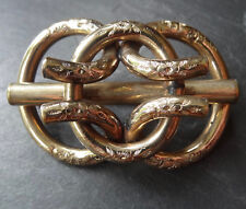 antique Victorian gold plate lovers knot forget me not flower brooch c pin -C345