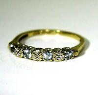 9ct 9k Gold Aquamarine Diamond Half Eternity Ring Size 7 1/4 - O