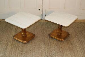 Hollywood Regency Mid Century Gold Gilt/Marble End Tables Vintage