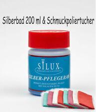 Silberbad 200 ml + 5 x 22 x 20 cm Schmuckpoliertuch, Silux, Silber Reinigung