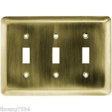 BRAINERD 64376 Triple Light Switch Wall Plate ANTIQUE BRASS Standard Toggle