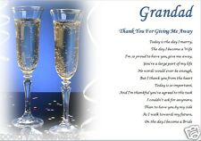 GRANDAD Thank you for GIVING ME AWAY- personalised wedding poem