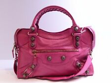 BALENCIAGA PINK FUCHSIA GIANT 21 ROSE GOLD STUD RGHW CITY SATCHEL SHOULER BAG