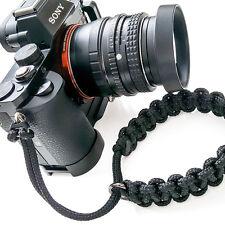 """TogBitz Skinny Strap"" Paracord Camera Wrist Strap - Black - Handmade"