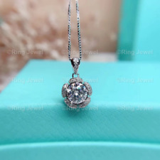 Forever Moissanite Halo Pendant Solid 14K White Gold 2.10 Ct Excellent Round Cut