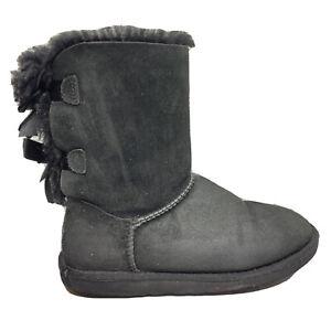UGG Australia Bailey Bow Fur Lined Boots Womens Size 6 Black High Shoe 1002954