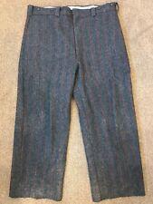 Vintage WOOLRICH Wool Pants Gray Malone Pinstripe Outdoor 1990 42X28