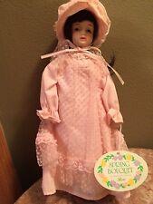 Nwt Vintage spring bouquet rose porcelain doll Russ Berrie pink dress brunette