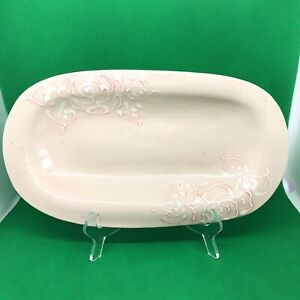 Wonki Ware Large Rectangle Trough Tray in Beige With Floral Swirl Accents