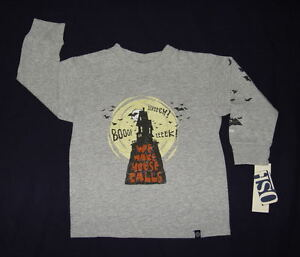 Oshkosh Halloween Heather Gray Long Sleeve Haunted House Shirt Toddler Boys NWT