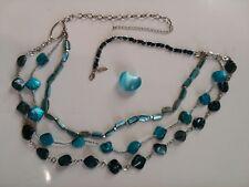 Silver Tone Belt 3 Strand Turquoise &