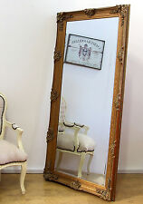 "Abbey Large Shabby Chic Vintage Wall Leaner Mirror Gold - 65"" x 31"""