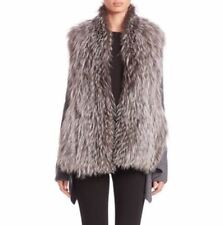 NEW KOBI HALPERIN EMMA GENUINE SILVER FOX FUR MERINO WOOL SWEATER JACKET COAT