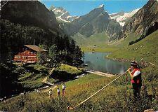 B73092 Alphornblaser am seealpsee mit altmann rossmad Switzerland