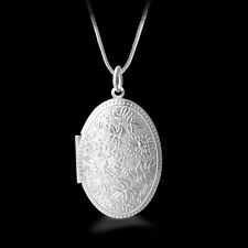 """Shiny 925 Sterling Silver PL Flower Oval Photo Locket Chain Necklace 18.1"""" Gift"""