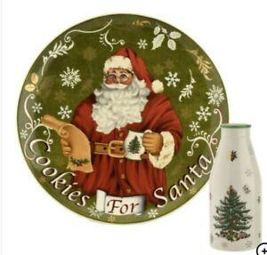 Spode Christmas Tree Cookies for Santa Plate & Milk Bottle RRP£56