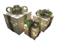 Outdoor Lighted Christmas Decor 3pc Rustic Gift Box Set Sculpture Yard Holiday