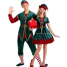 Mens Womens Adult Green Elf Couple Christmas Fancy Dress Party Costume Cosplay S