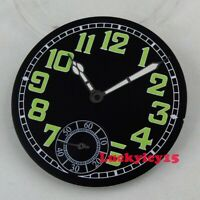 34.5mm black watch dial green marks fit for ETA 6498 movement Dial+hands D155