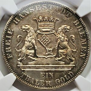1 Thaler 1865B Liberation Of Germany Free Imperial City Bremen MS 63 NGC Very R