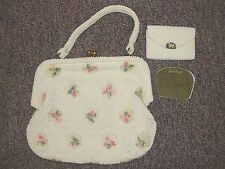 Vintage 1950's Ivory Cord'e Beaded Slump Evening Bag With Mirror & Change Purse