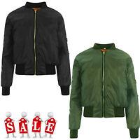 Ladies Womens Girls MA1 Bomber Biker Vintage Jacket Classic Retro Zip Up Jacket