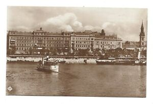 Vintage RP postcard Budapest - Les Hotel Hungaria - shows ferry boat.