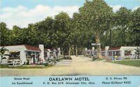 1940s Oaklawn Motel Roadside Mississippi City MS Kropp linen postcard 1212