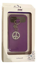 iwave Purple Silicone Cell Phone Case with Peace Charm in Swarovski iPhone 4G