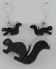 Zuni Indian Set Skunk Pin Pendant Dangle Earrings Multistone Sterling Silver