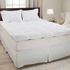 4 Inch Mattress Topper Down Duck Feather Bed Gusset Matress Pad Cotton Cover New
